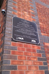 Here's the plaque. I won't show you the graffiti; it's not even pretty.