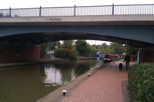 The Tom Rolt road bridge in Banbury, with Felucca in the background